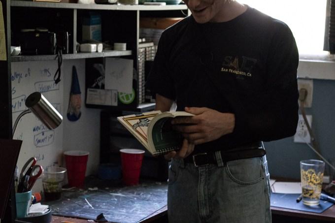 Flipping through a sketchbook