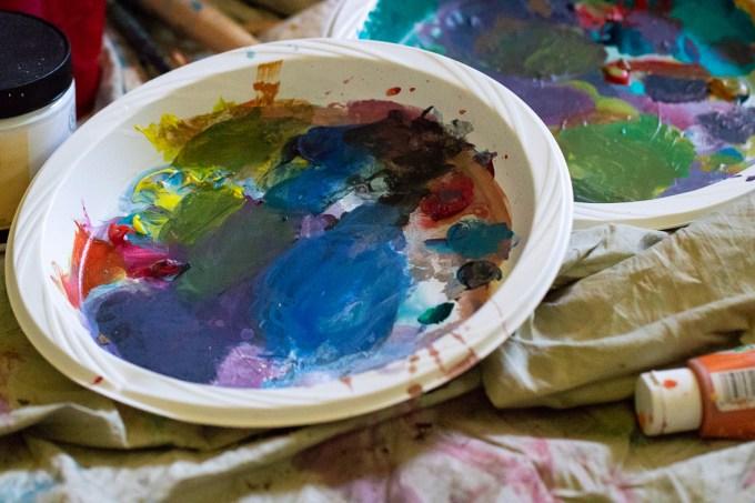 paint splattered plates