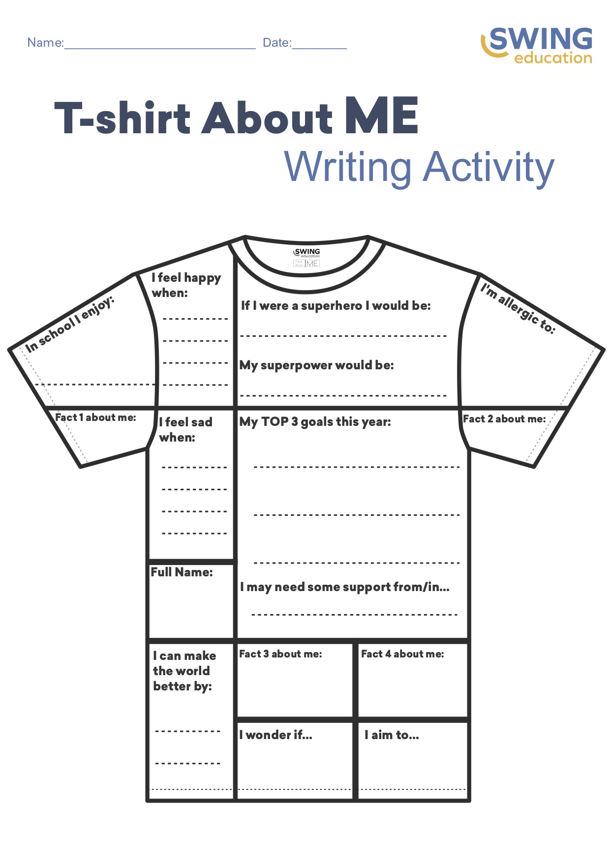 About Me T Shirt Icebreaker For Students