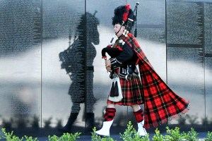 "H:EDITORIALPhotos�9 September 2009JH 9-10-09 Bagpiper Bill Boetticher, a Camarillo resident, performs as he ceremoniously ""clears the wall"" during the opening ceremony of the Dignity Memorial Vietnam Wall Experience on Friday, September 4, in Westlake Village."