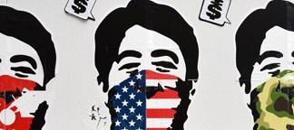 安倍首相を皮肉るストリートアートを渋谷パルコ前で発見。日本はアメリカの言いなり?