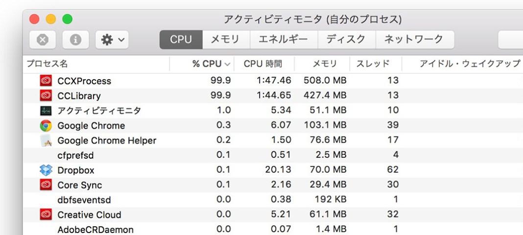 Adobe Creative Cloud「CCXProcess」「CCLibrary」が異常負荷。Macのファンはうるさくなるわ、高熱になるわで……。