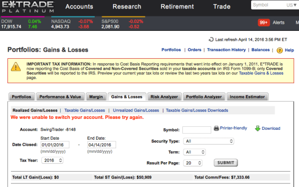 Screenshot of my etrade portfolio