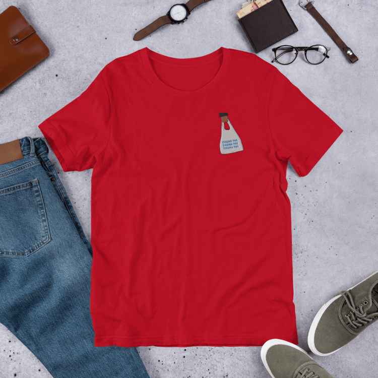 Swipeby Tshirt with to-go bag on it - red