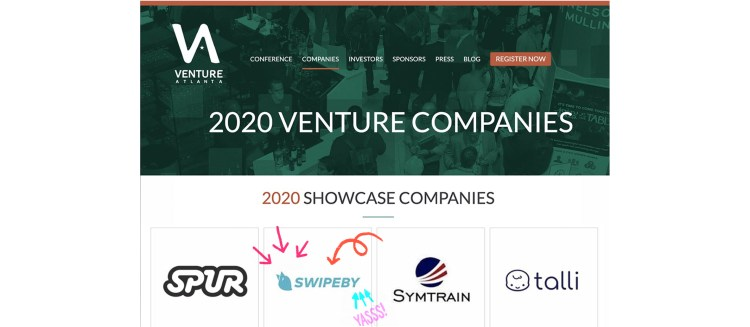 SWIPEBY selected as a Venture Atlanta 2020 Showcase Company