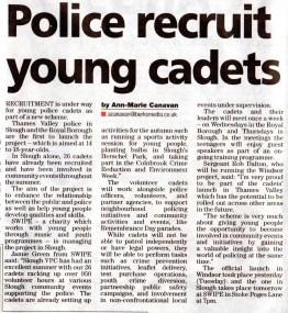 Police recruit young cadets.