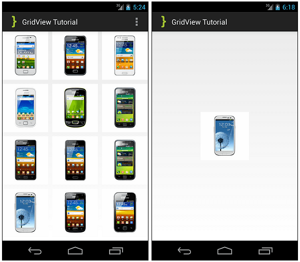 GridView Tutorial ScreenShot