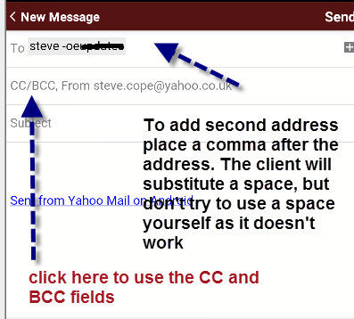 Yahoo-android-addressing-email