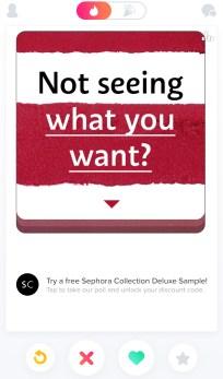 Sephora advertisements on Tinder, October 2016