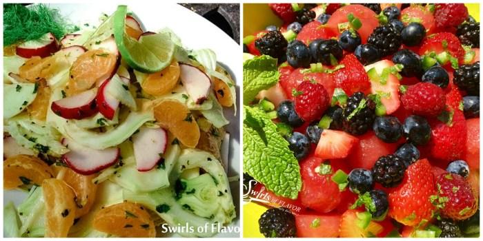 Fennel Salad and Summer Fruit Salad