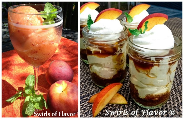 Peach Sorbet and Peach Cheesecake Mousse