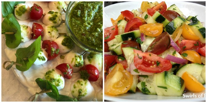 Caprese Skewers and Tomato Cucumber Salad