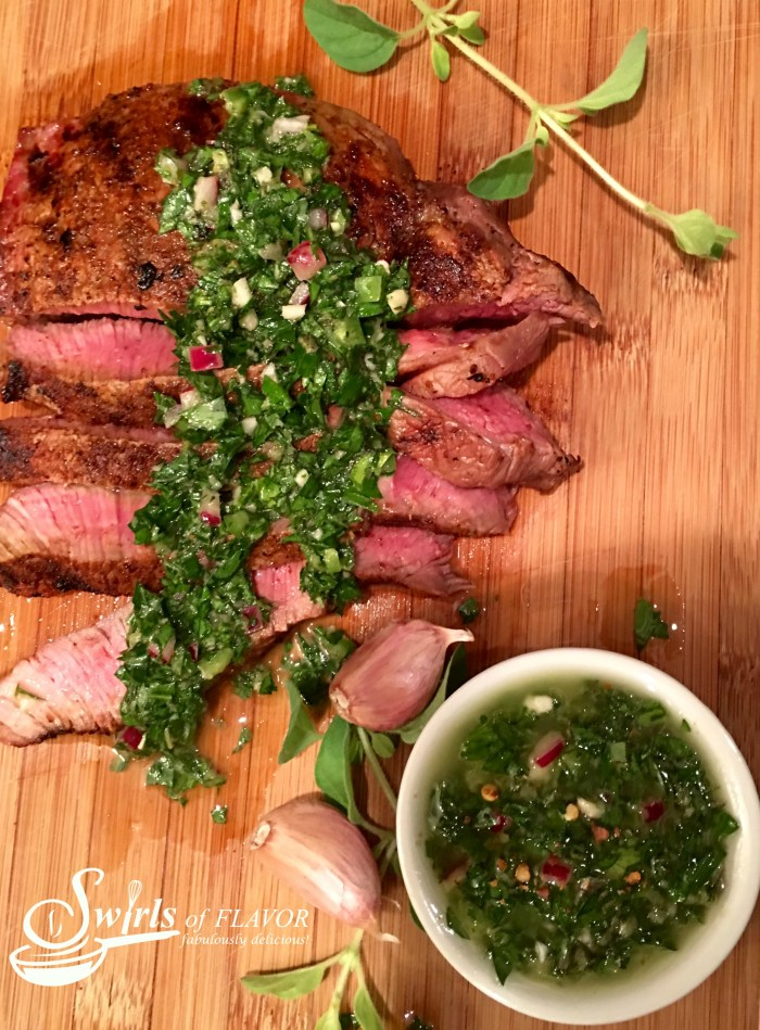 Spice-Rubbed Sirloin With Chimichurri Sauce is bursting with fresh vibrant flavors that will dance on your palate! It's garlicky, herby, spicy and tangy! easy recipe | dinner | fresh herbs | beef | sirloin steak | summer | #swirlsofflavor