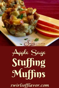 Studded with chunks of apples and flavored with fresh sage, Apple Sage Stuffin' Muffins are not only delicious they're also fun to eat! An easy recipe for Thanksgiving, stuffing muffins are shaped like a muffin, bake in the oven and are hand-held, so you can guarantee that the kids will definitely eat the stuffing this year! #sidedish #stuffing #stuffingrecipe #Thanksgiving #Thanksgivingrecipe #stuffingmuffins #easyrecipe #Thanksgivingsidedish #swirlsofflavor