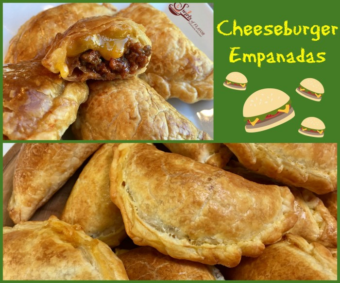 Cheeseburger Empanadas are bursting with a ground beef, ketchup and cheese filling, making them the perfect kid friendly snack!cheeseburger | empanadas | ground beef | cheese | kid friendly | snack | appetizer | Cinco de Mayo | easy recipe | oven baked | #swirlsofflavor