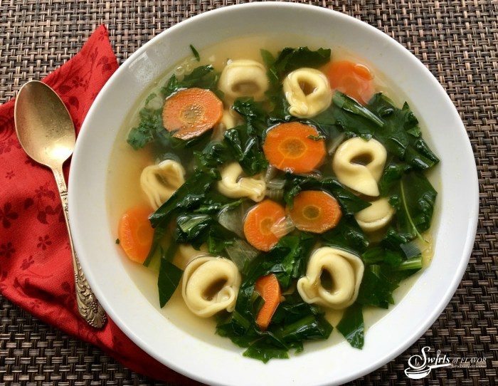 Grandma's Dandelion Soup is a sure sign that spring has arrived! Dandelion greens add nutrition and flavor to this homemade soup! dandelion   dandelion greens   soup   spring   spring recipe   tortellini