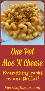 One Pot Mac 'N Cheese is an easy recipe for a busy weeknight dinner. Homemade mac and cheese is so easy to make when the pasta, cheesy sauce and breadcrumb topping are all cooked together in the same skillet! #easyrecipe #dinner #macandcheese #homemade #homemademacandcheese #onepot #onepotmacand cheese #funforkids #famiyfavorite #meatlessmonday #pasta #swirlsofflavor