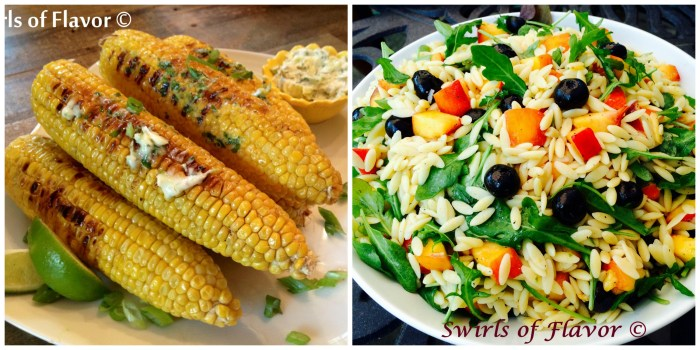 Corn with cilantro lime butter and blueberry peach orzo