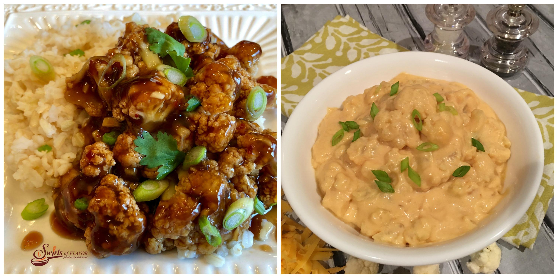 General Tso's Cauliflower and Cauliflower Mac and Cheese