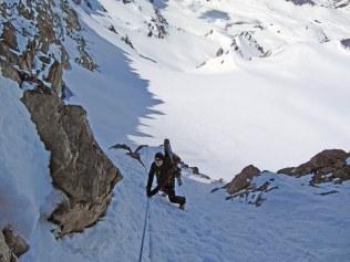 Holding on to rope below Devils Ridge