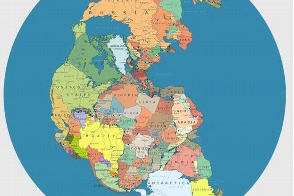 古代の超大陸「パンゲア」に現在の国を当てはめた地図がユニーク