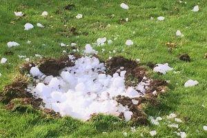上空から大きな氷の塊が落下、家を震わせ庭に小さなクレーターも作る