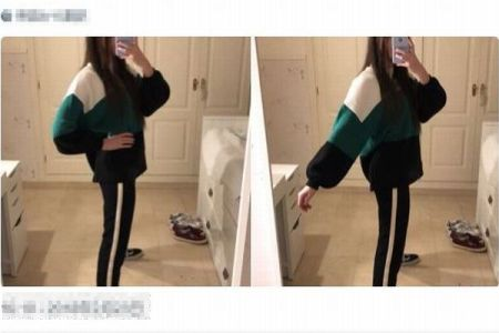 異常に細い足が2本?モデルのツイート写真が錯覚を引き起こすと話題に