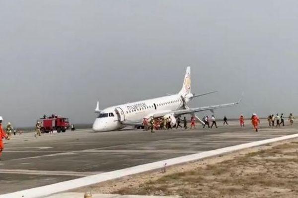 機体が故障し前輪が出ない!ミャンマーの空港で奇跡的に着陸成功【動画】