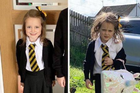 新学期の初日を迎えた少女、ビフォー・アフターの2枚の写真が話題に