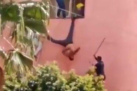 メキシコで車を盗んだ男、窓に引っかかり警官に叩かれる姿が情けない
