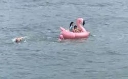 少女たちの乗り物が沖へ流され、大人たちが海へ飛び込み協力して救助