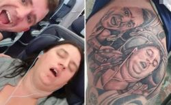 口を開けた妻の寝顔を写真に撮り、タトゥーに入れた英男性が話題に