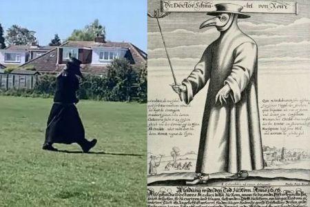 黒死病の治療をしたペスト医師、当時のマスクをした人物が英で目撃される