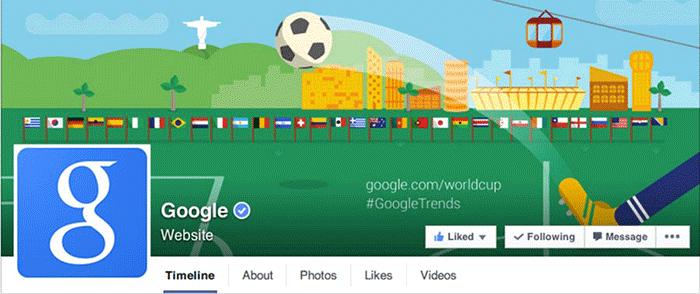 Facebook page Google