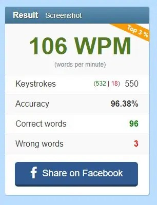 106 wpm typing test results