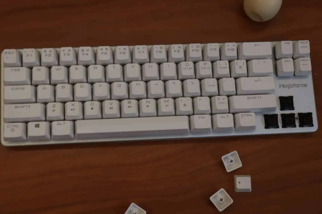 Mechanical keyboard with OEM ABS keycaps.