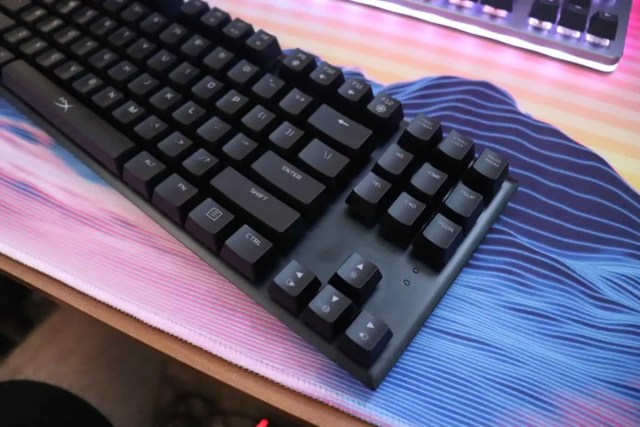angled view of HyperX Alloy FPS Pro mechanical keyboard.