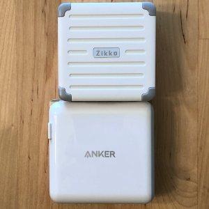 Top: Zikko eLuggage L charger. Bottom: Anker PowerPort II PD.