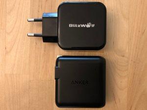 Top: BlitzWolf BW-S10 30W USB PD. Bottom: Anker PowerPort Speed PD 30.