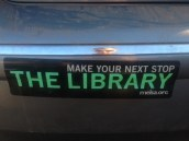 Literary bumper sticker in the parking lot of New Scenic Cafe