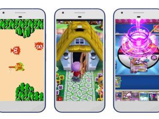 zelda animal crossing and a pokemon card game running on mobile devices