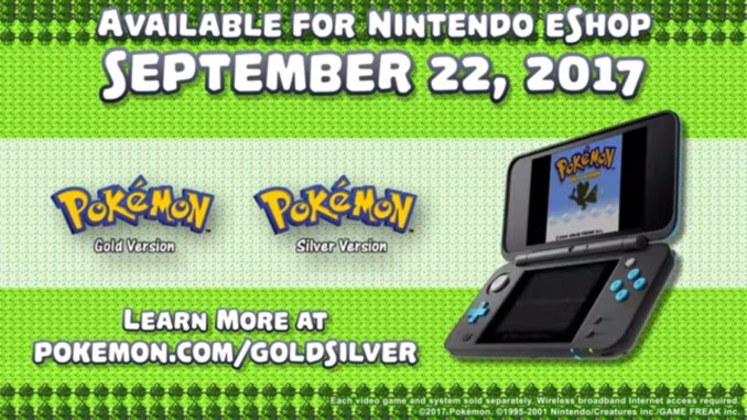 pokemon gold silver logos and release date for 3ds virtual console