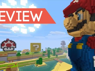 the word review on a banner with minecraft super mario mashup pack in the background