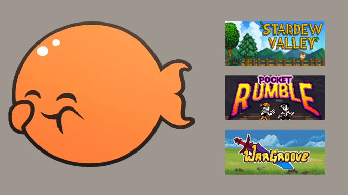 chucklefish logo with banners for stardew valley, pocket rumble, and wargroove