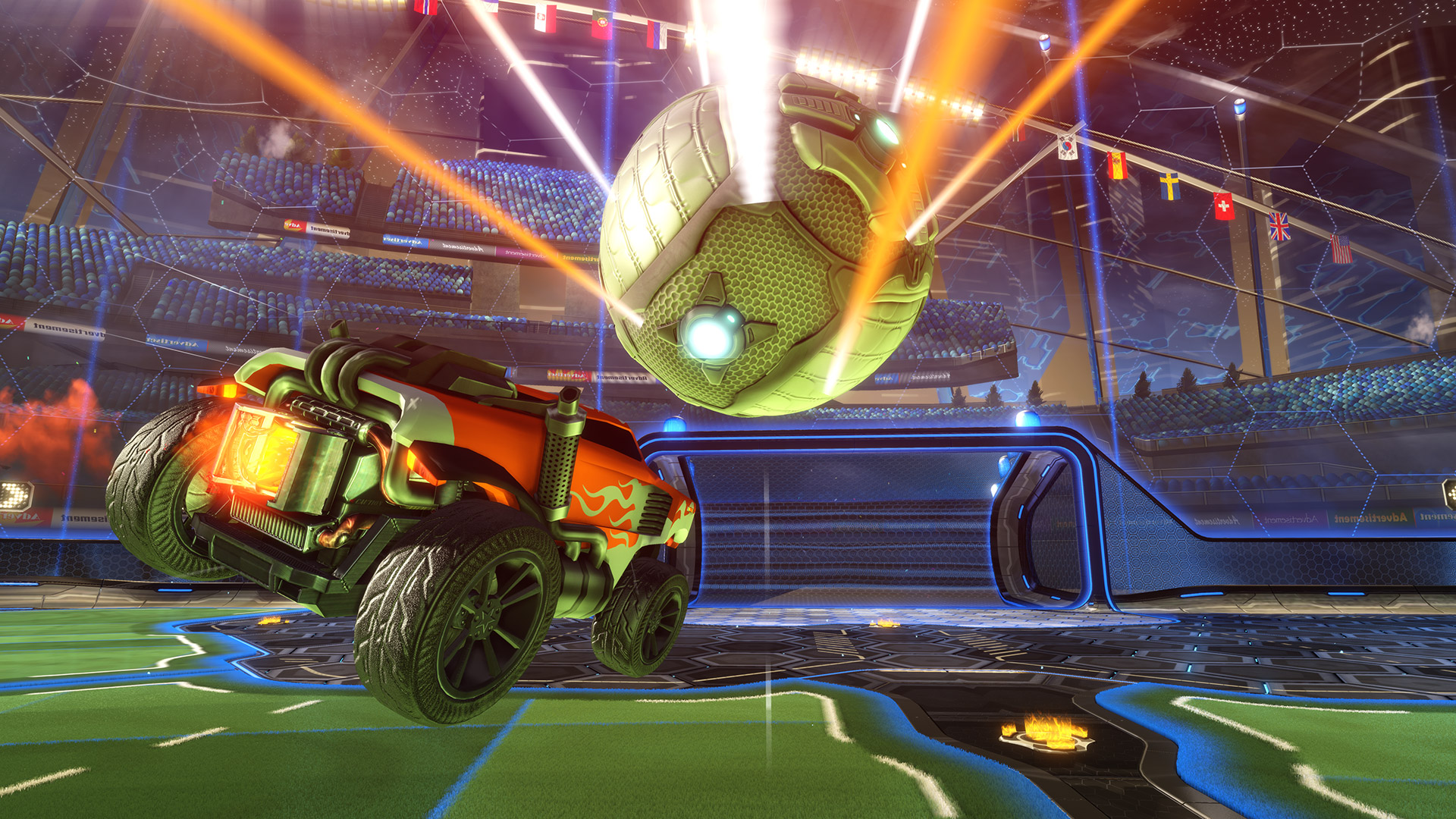 car chasing ball in rocket league