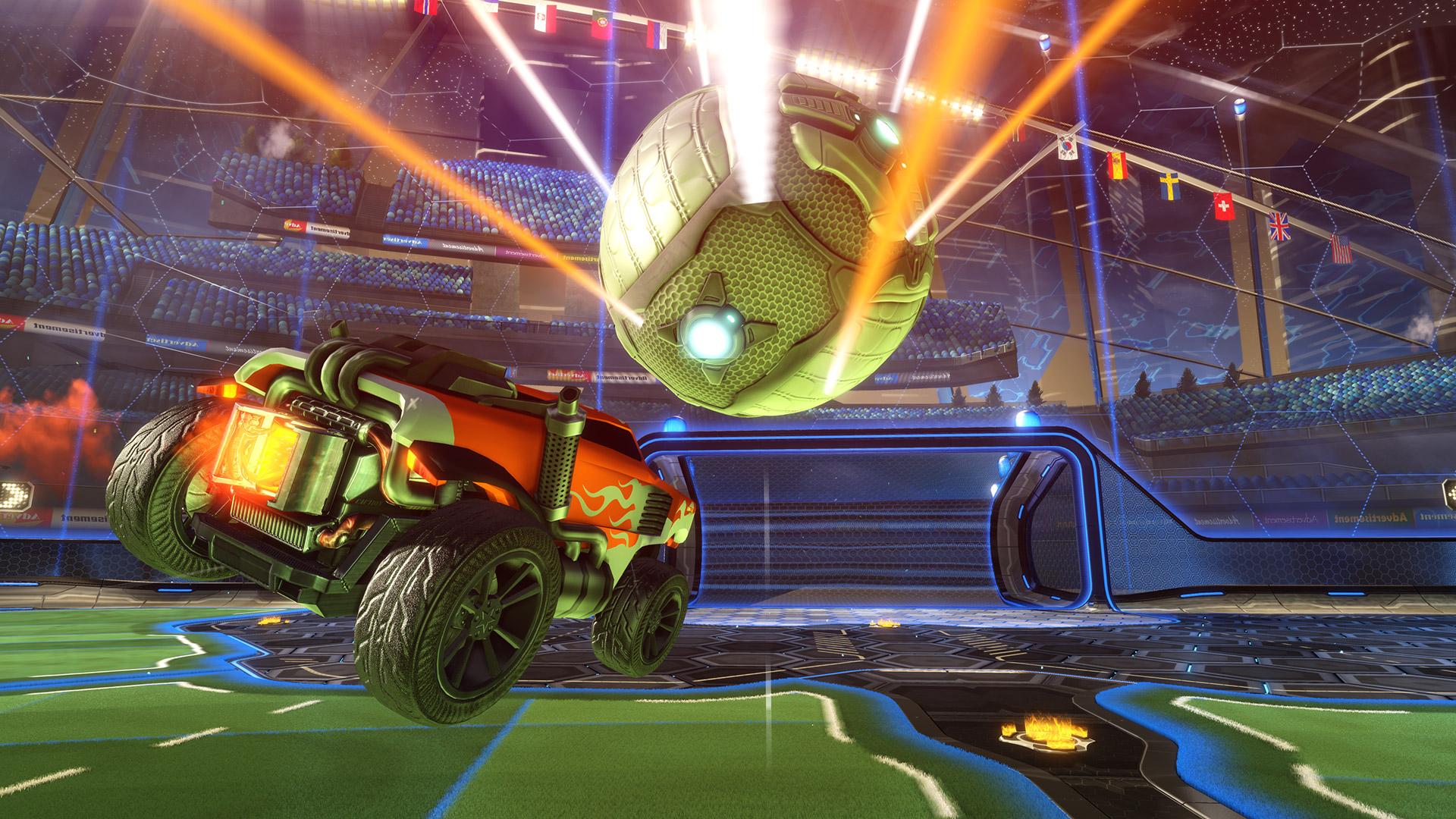 car chasing ball in rocket league