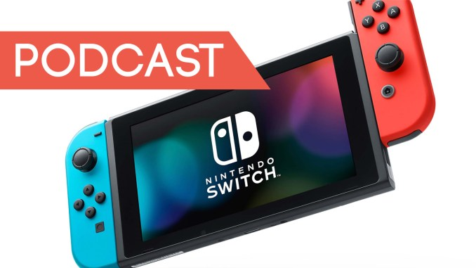 neon joycon switch with podcast banner