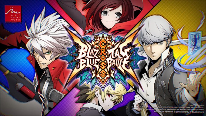 characters and logo for blazblue cross tag battle