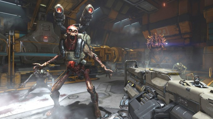 player about to shoot enemy in doom