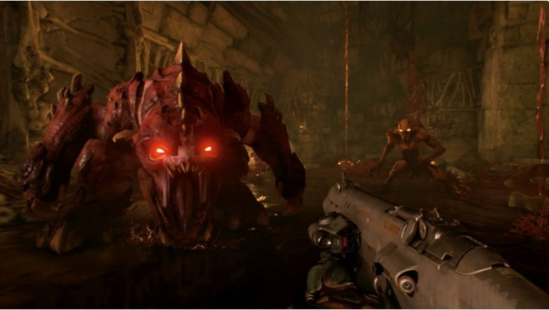 facing a giant demon in doom
